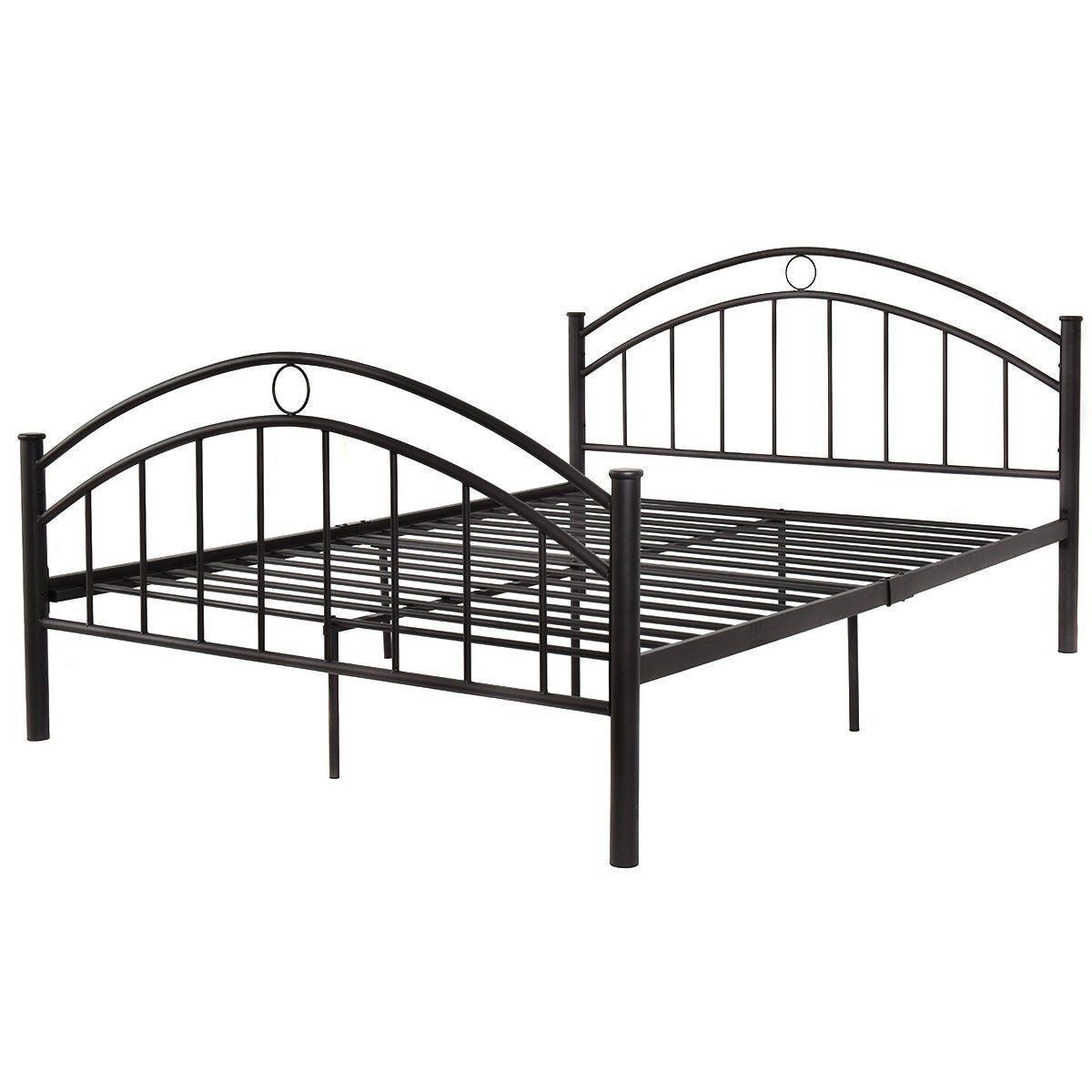 Black Queen Size Metal Steel Bed Frame In 2020 Steel Bed Frame