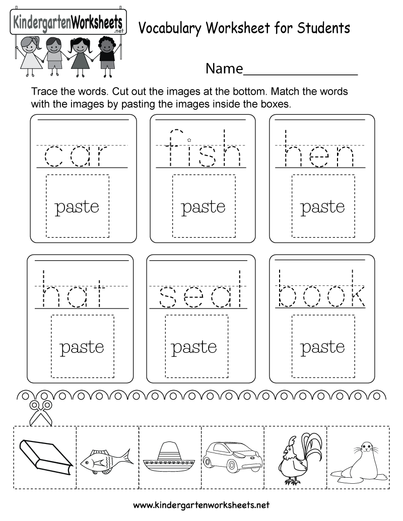 Vocabulary Worksheet for Students - Free Kindergarten English Worksheet    Vocabulary worksheets [ 1035 x 800 Pixel ]