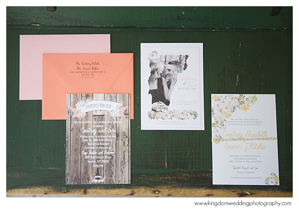 Courtney & Sevi's Stowe, Vermont wedding invitations designed by @Chirp Paperie