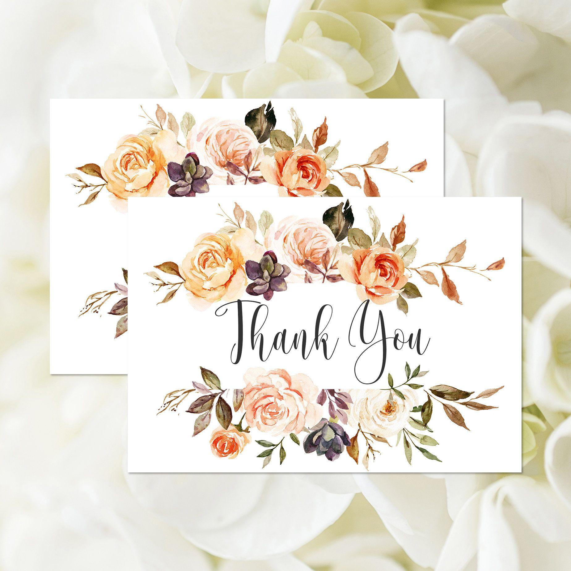 EDITABLE TEMPLATE Bridal Shower Thank You Card, Wedding