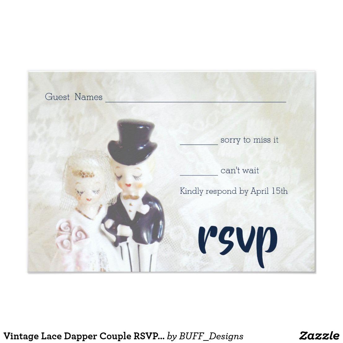Lace dress vintage april 2019 Vintage Lace Dapper Couple RSVP Cards  vintage lace wedding
