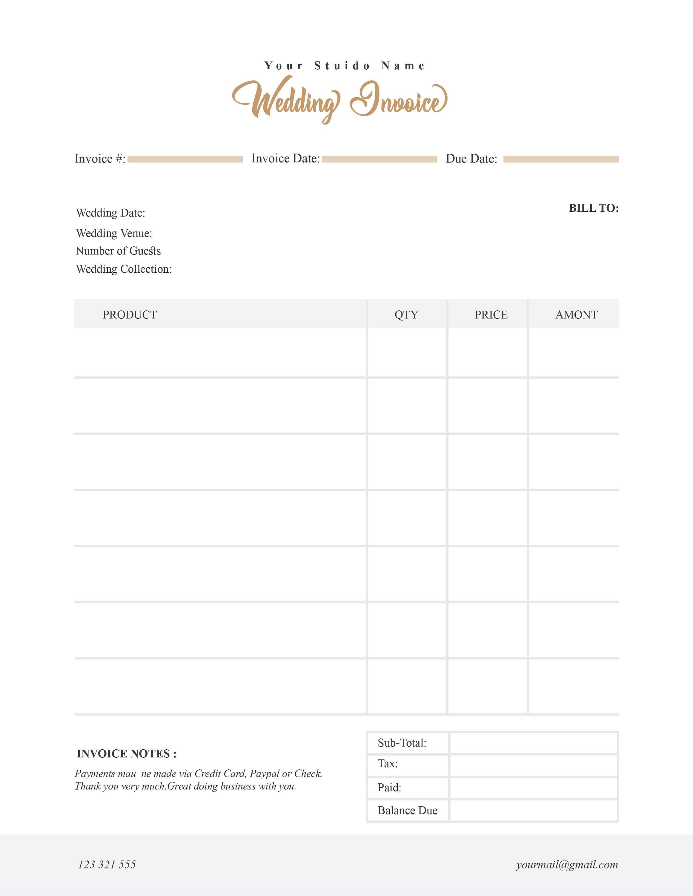 Wedding Photography Invoice Template Price Guide List For Photographers Photography Ph Photography Invoice Photography Invoice Template Invoice Design Template