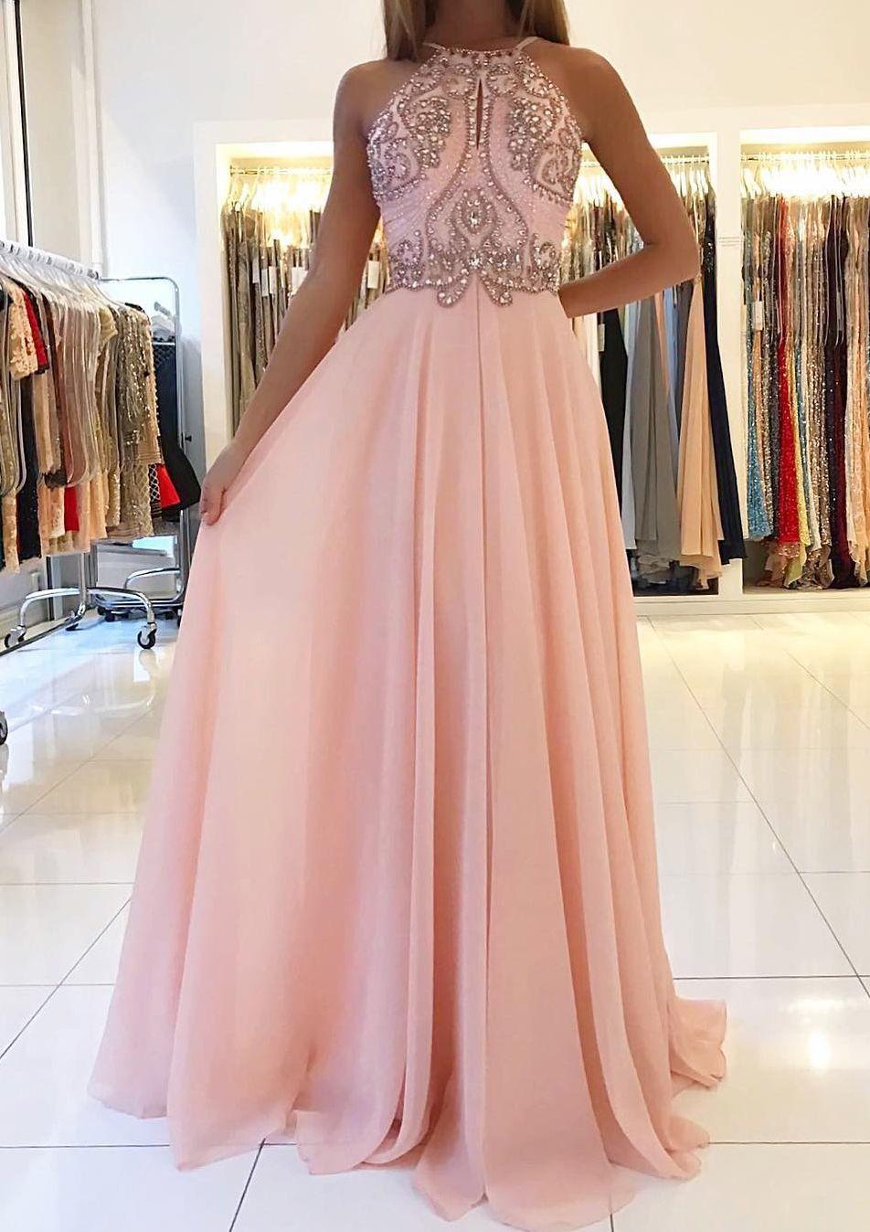 Lang Chiffon Rosa Rückenfrei Abendkleid mit Strasssteinen