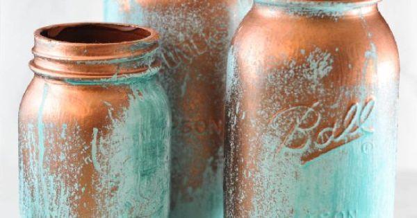 Mason Jar Room Decor Create This Verdigris Look On Mason Jarsusing Reactive Metal
