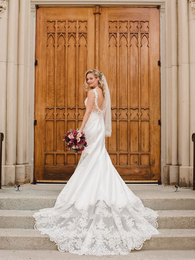 Jessica Is A Stunning Bride In The Satin Mermaid Bridal Gown With A Sheer Semi Cathedral Train The Bridal Gowns Mermaid Wedding Dresses White Wedding Dresses [ 1067 x 800 Pixel ]