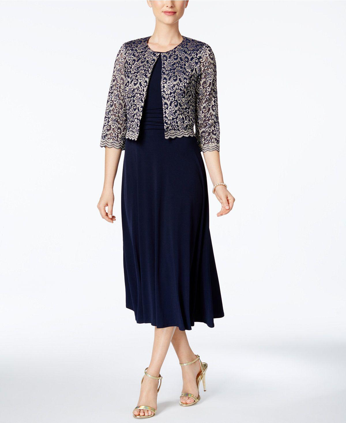 Macys womens dresses wedding  Jessica Howard Midi Dress And Lace Jacket Regular u Petite Sizes