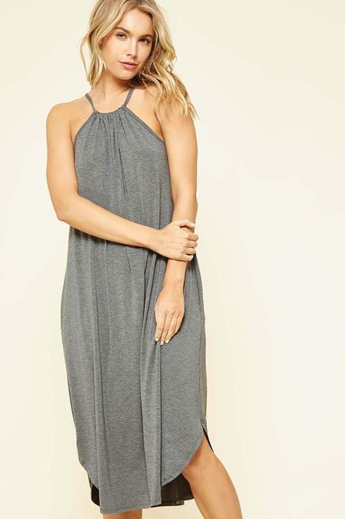 Amaya Halter Neck Midi Dress   Charcoal – GOZON Boutique 5446a3402