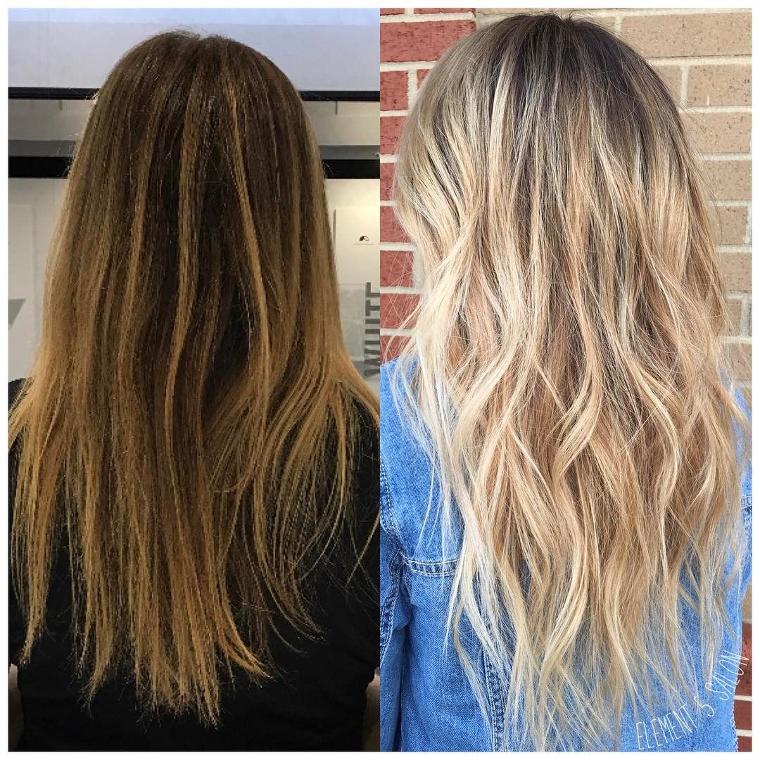 Before And After Transformation Brighter Beige Blonde Balayage
