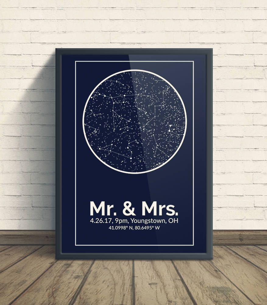 Custom Constellation Art First Wedding Anniversary Gift 1st
