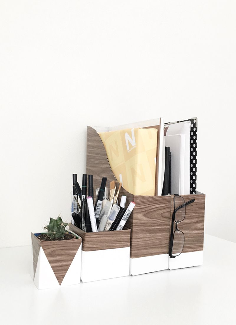 Diy Wood And White Desk Organizers