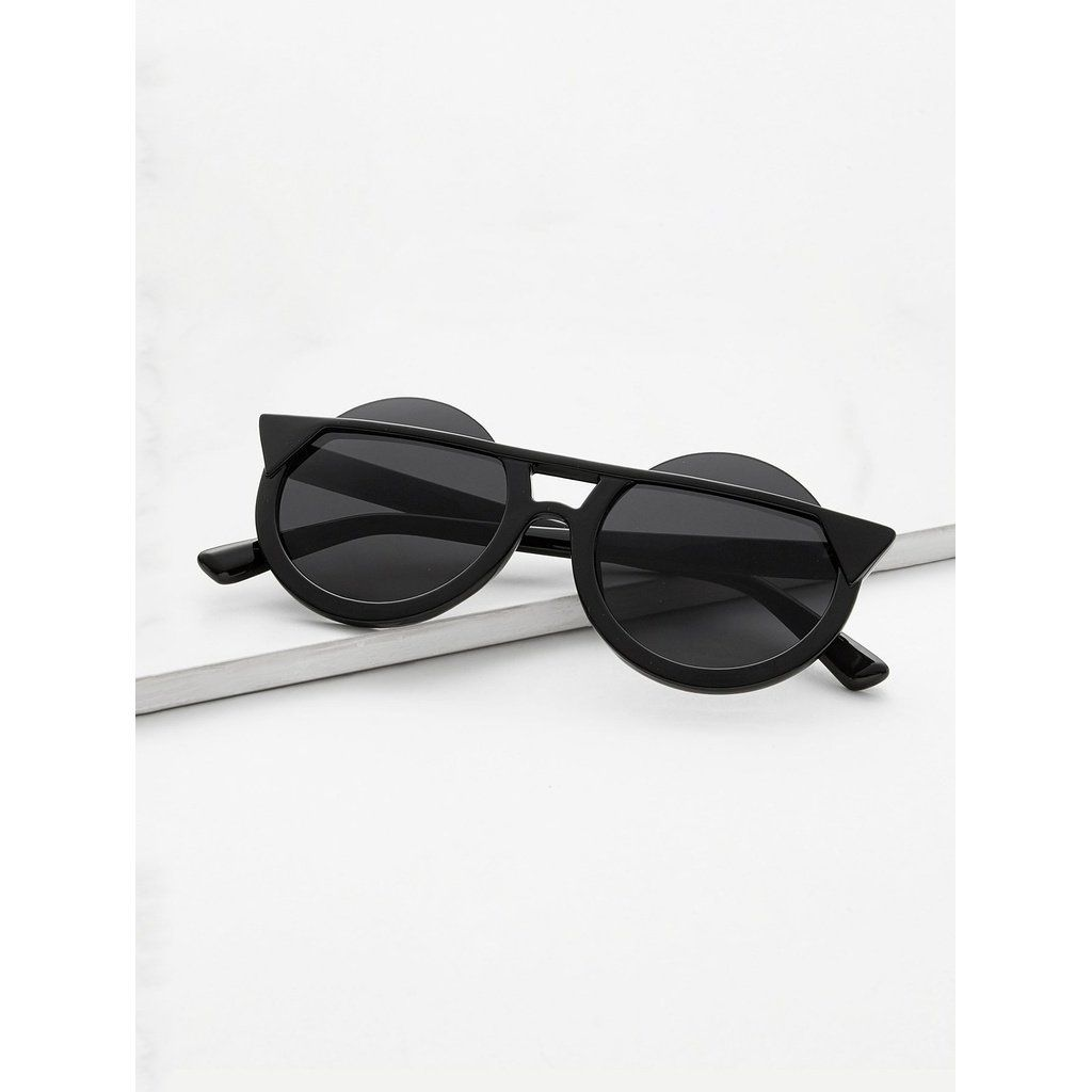 f2bad59d96e9 Super Dark Black Round Lens Sunglasses  15.00 . . . . . .  glasses