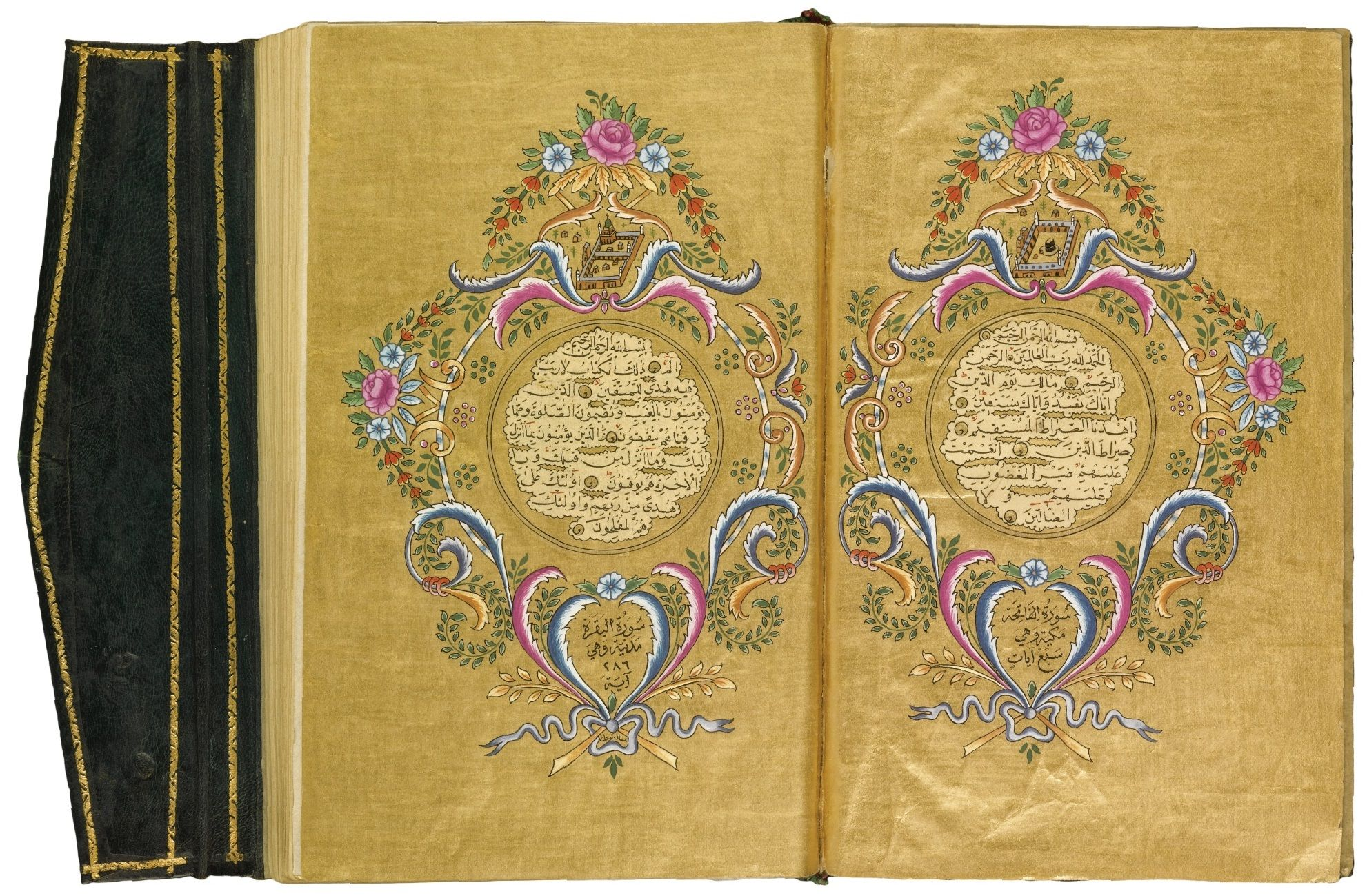 marginal illuminations in colours and gold issuing floral sprays, two opening illuminated double page frontispieces decorated in the rococo style with polychrome flowers on solid gold grounds, the opening page with depictions of Mecca and Medina, illuminated finispiece with colophon, later brown morocco binding decorated with gold rococo scrolls, with flap 18 by 11.5cm