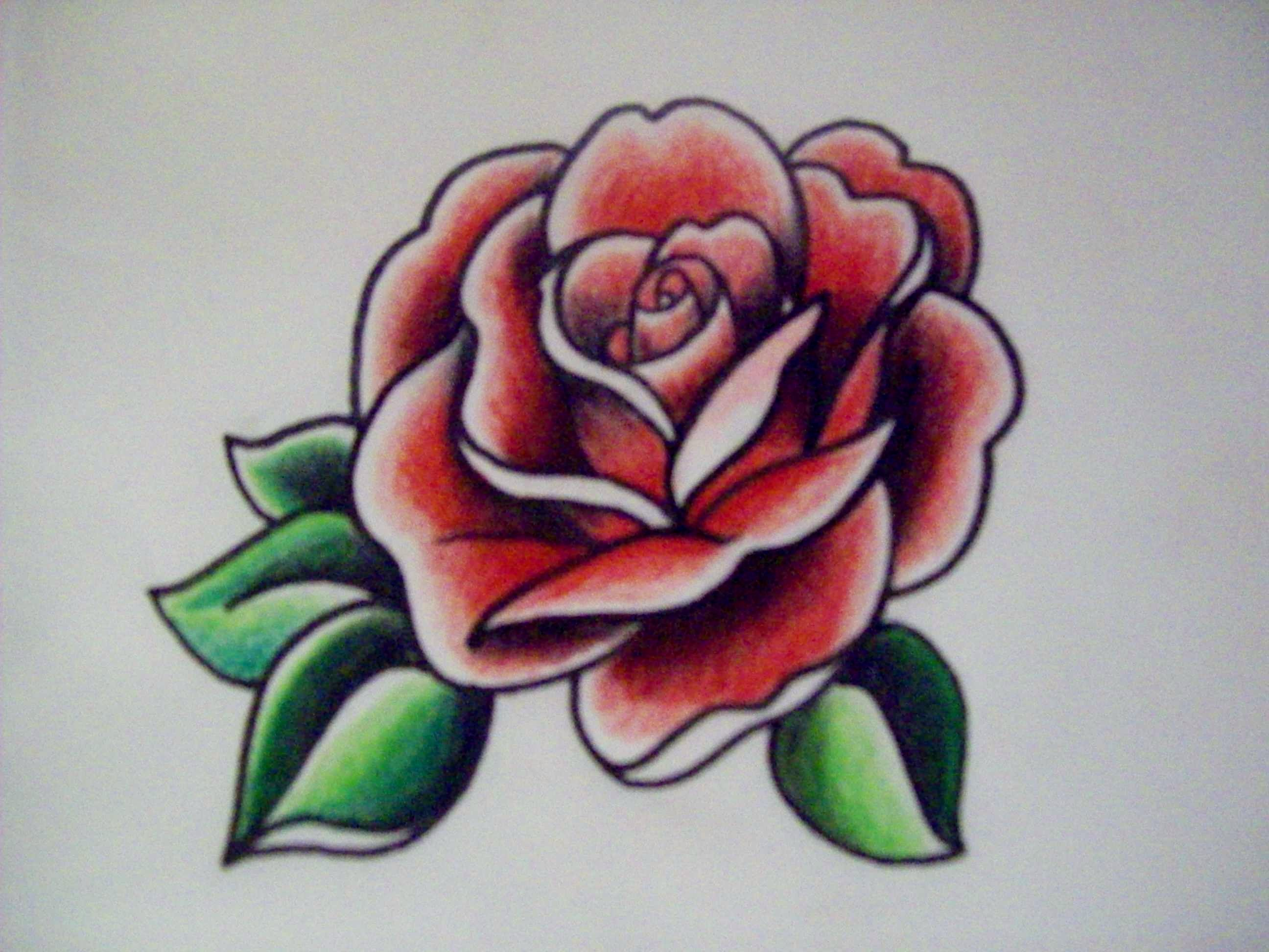 Pin By Allie B On Art Portfolio Traditional Tattoo American Traditional Rose Traditional Rose Tattoos
