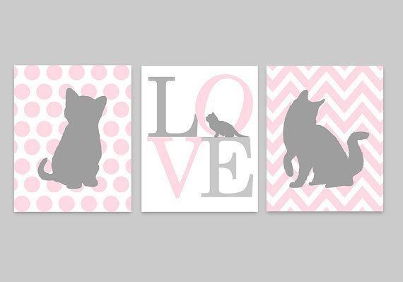 Cat Nursery Art Baby Girl Nursery Kitten Nursery Decor Pink And Grey Chevron Toddler Girls Kids Wall Art Cat Lover Gift Cat Canvas Cat Nursery Baby Girl Nursery Art Baby Girl