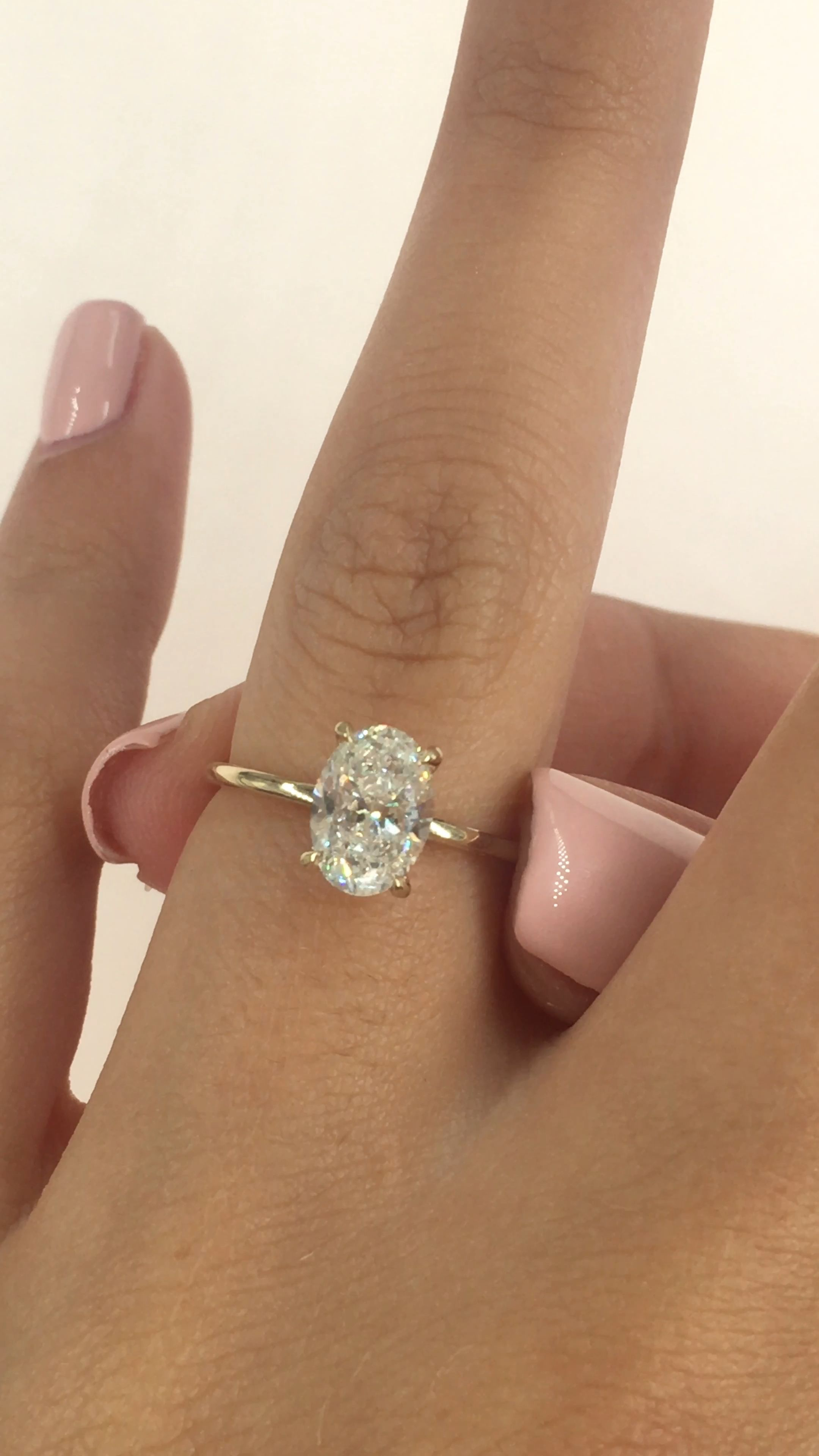 1 Carat Oval Diamond Engagement Ring Hidden Halo 14k Yellow | Etsy
