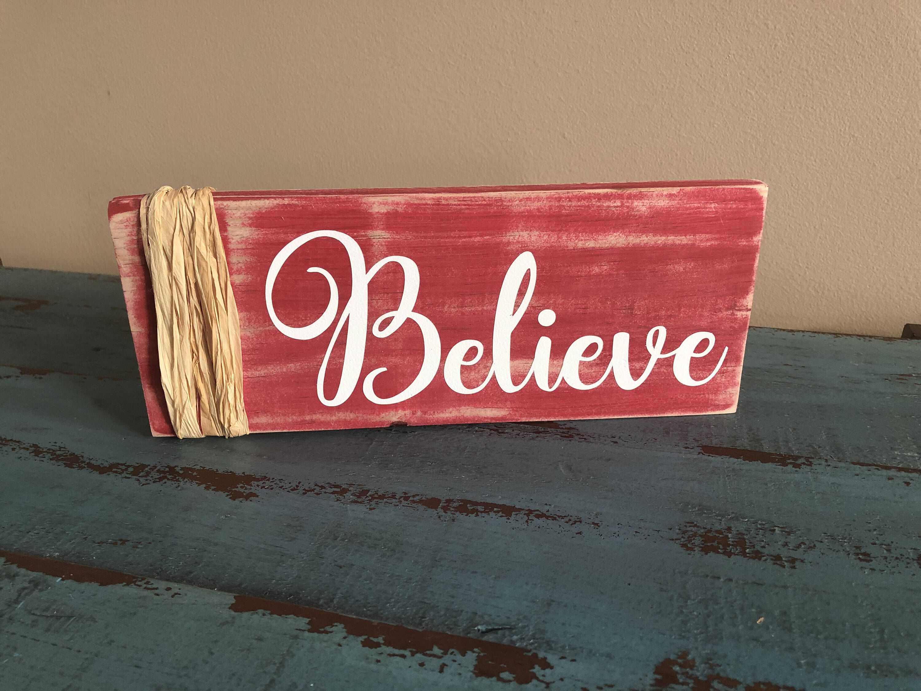 Believe Signs Decor Believe Rustic Hand Painted Signrustic Winter Signchristmas Sign