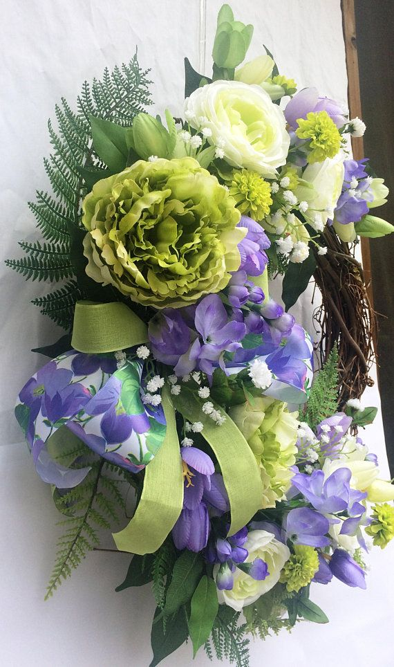 Photo of Grapevine wreath with lavender, green and white flowers, Spring grapevine floral front door wreath, Summer roses wreath with bow,