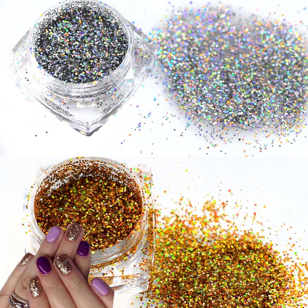 1 flasche Shinning Nagel Glitter Pulver Holographische DIY Gold ...