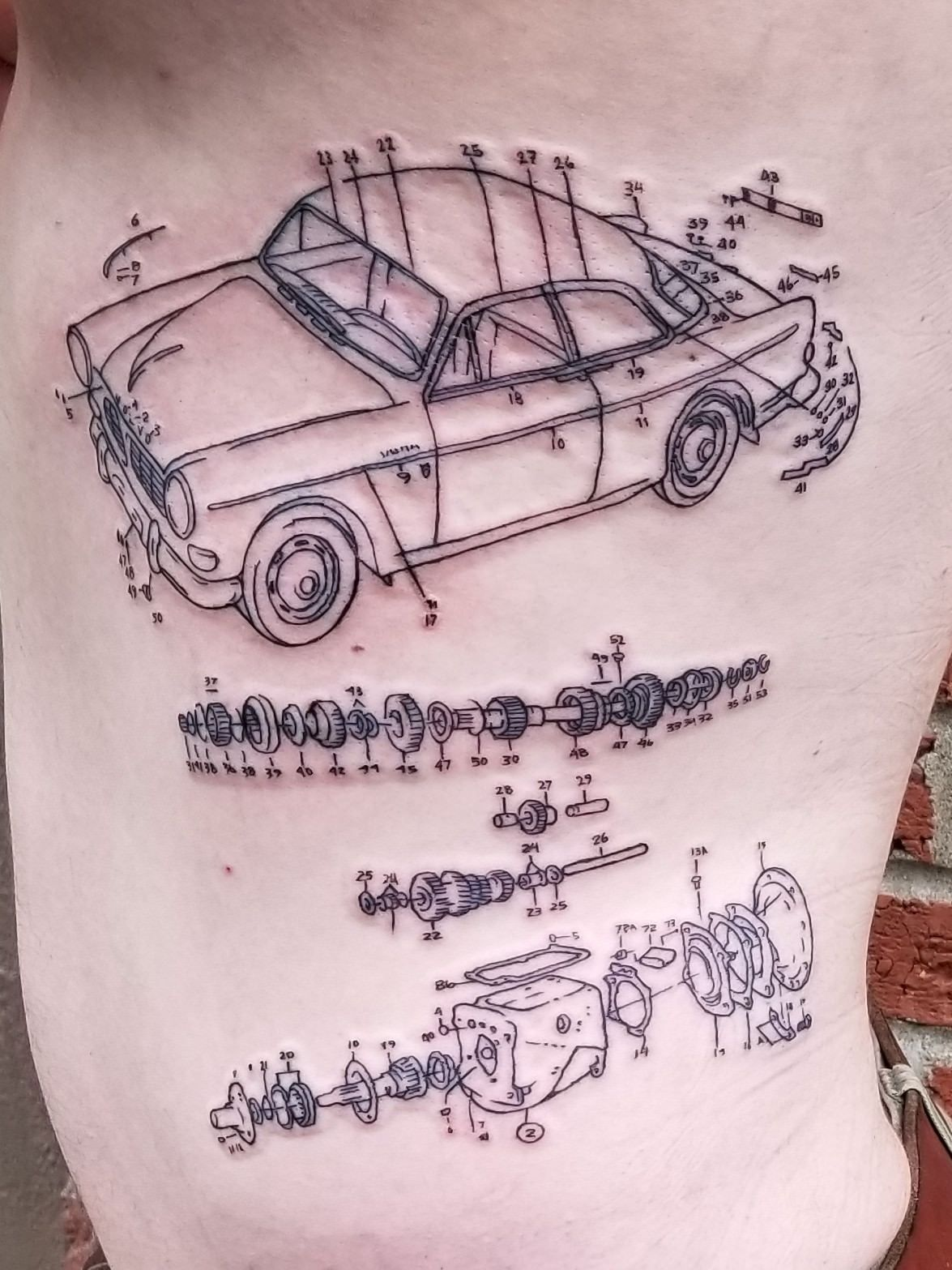 Seth At True Love Art Gallery Tattoo In Seattle Volvo 122 And Gearbox Tattoo 2 Tattoos Mechanic Tattoo Dad Tattoos