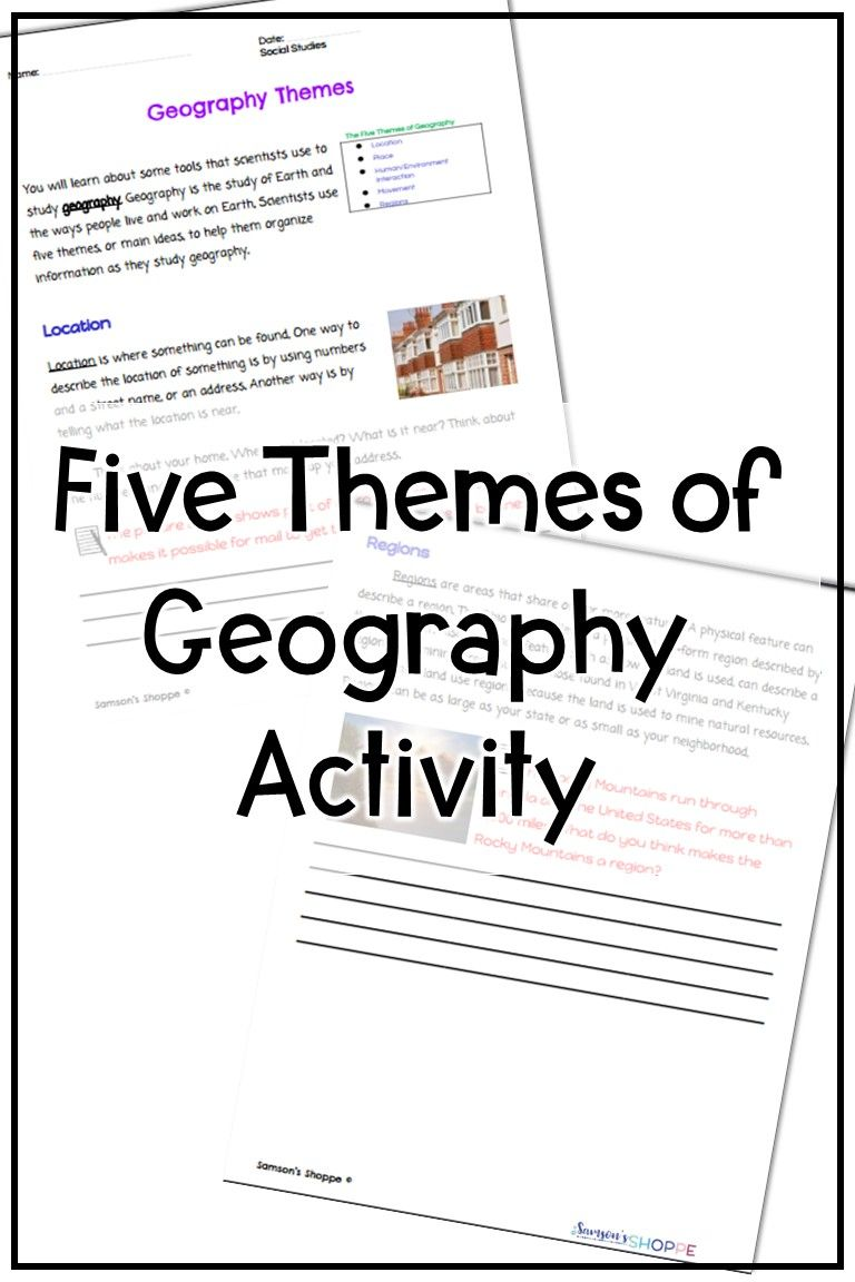 Five Themes Of Geography Activity Geography Worksheets Five Themes Of Geography Geography Activities