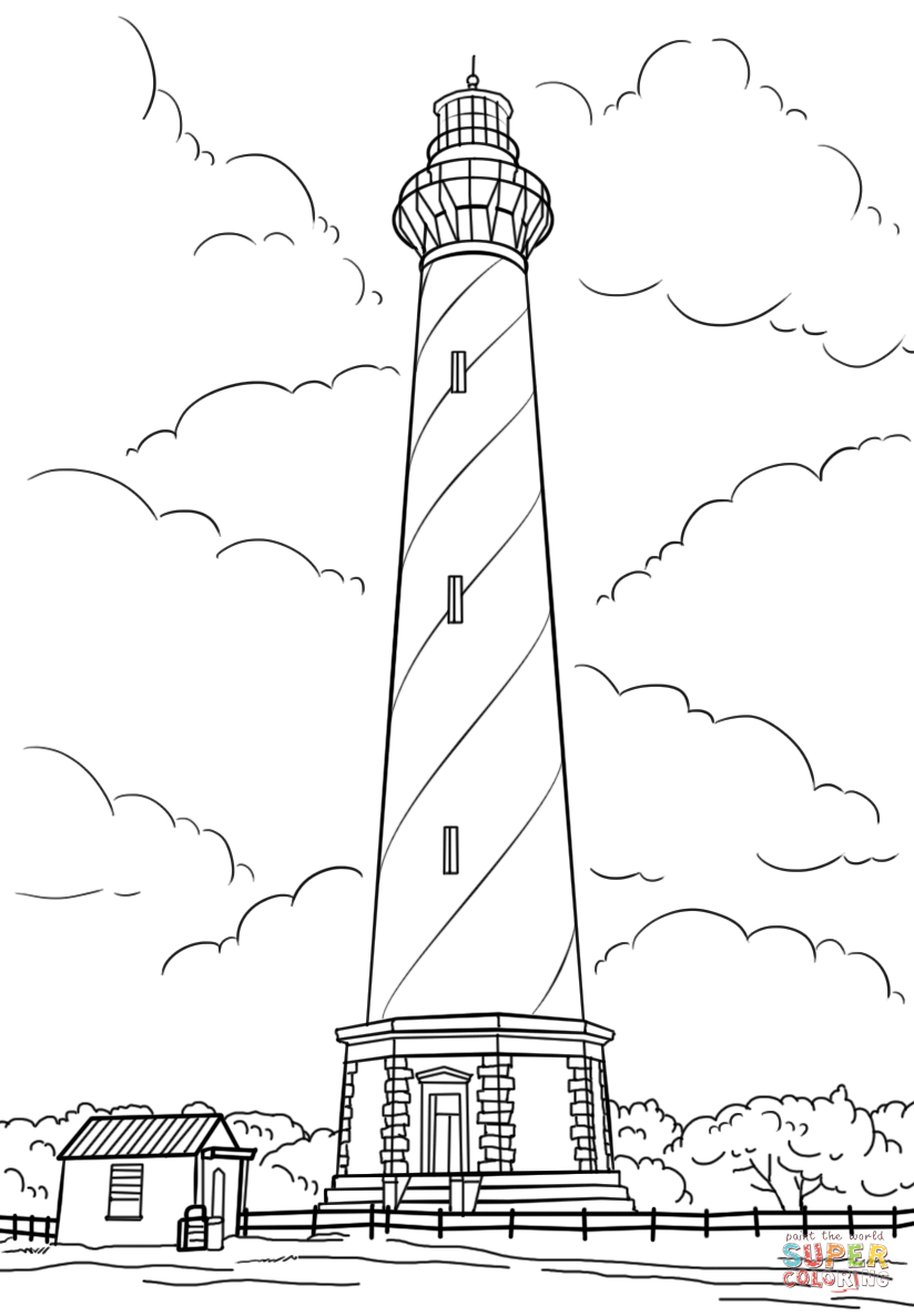 Cape Hatteras Lighthouse North Carolina Coloring Page From Buildings Category Select F Cape Hatteras Lighthouse North Carolina Lighthouses Lighthouse Drawing