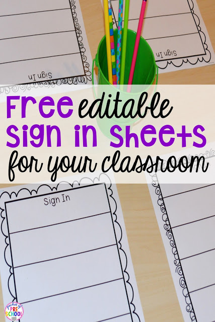 Free Daily Sign In Sheets for Your Classroom is part of Preschool names, Preschool sign in, Preschool writing, Classroom signs, Early childhood classrooms, Free preschool - Every morning my students sign in as part of their morning routine  Students are learning right when they get in the classroom! Their morning routine is to put their items in their cubbies, say bye to their family, answer the question of the day, sign in, and do the morning activity on the table  You   Read More