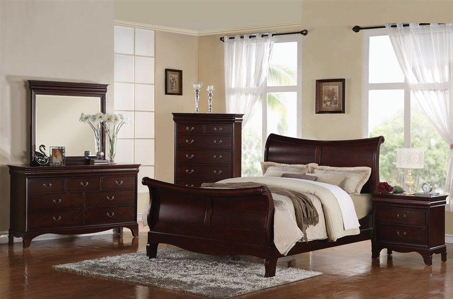 Best Ac20210 Darien Dark Cherry Solid Wood Sleigh Bed Wood 400 x 300