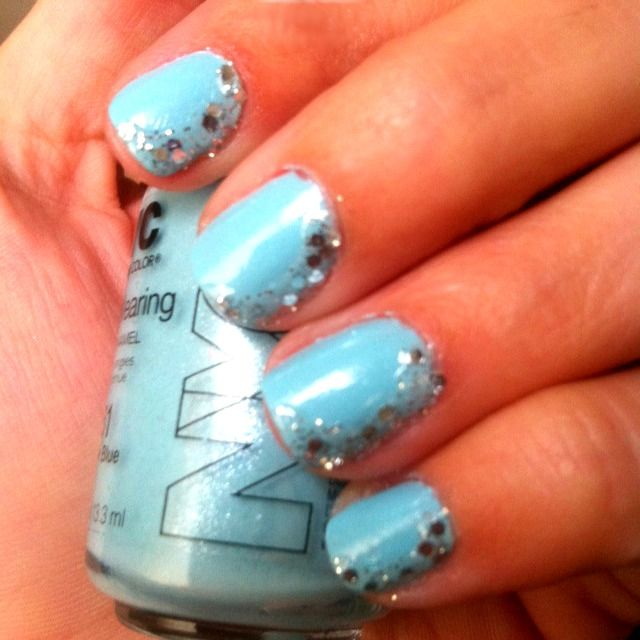 light blue with silver glitter