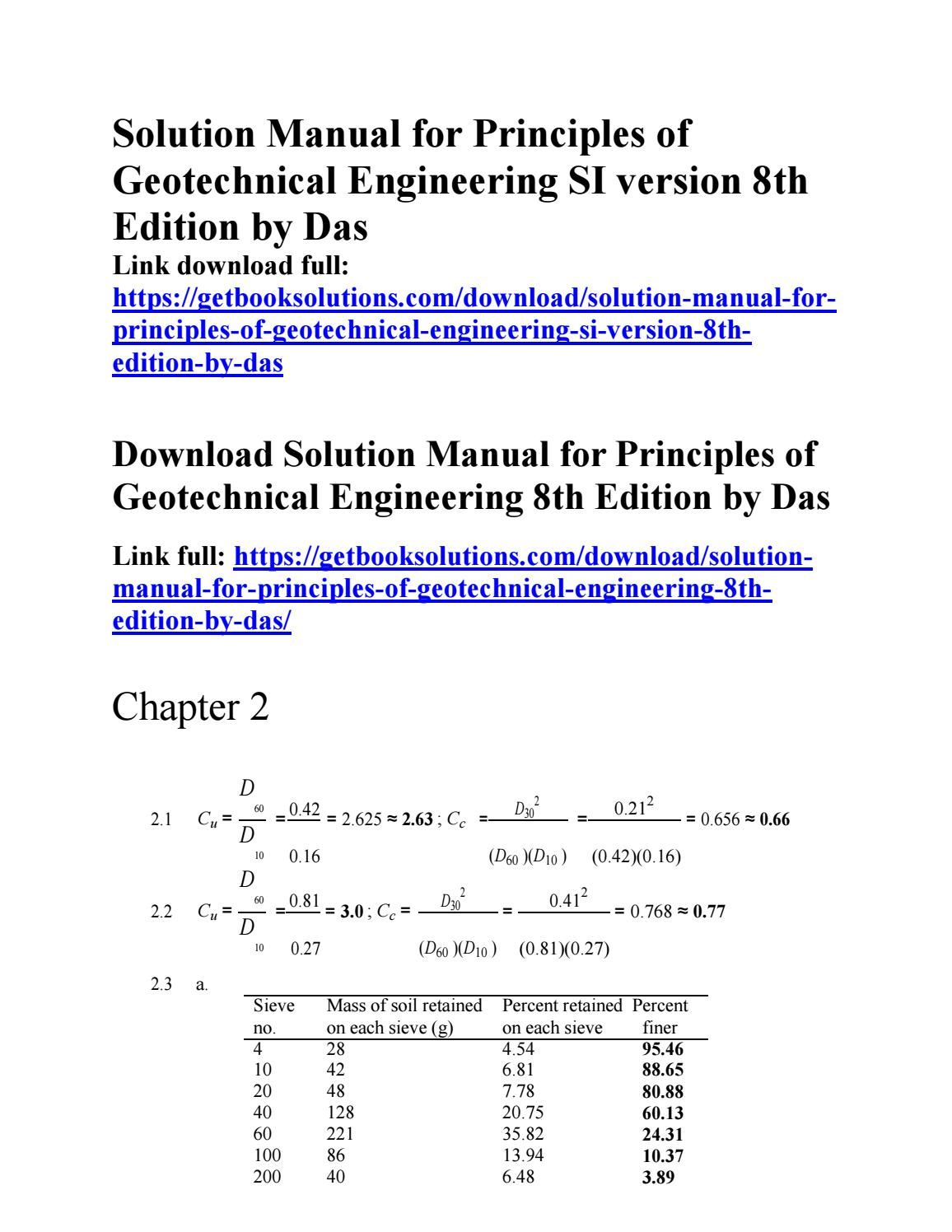 solution manual for principles of geotechnical engineering si rh pinterest com geotechnical earthquake engineering solutions manual geotechnical earthquake engineering solutions manual