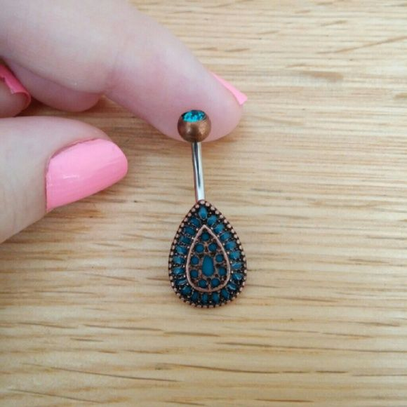 Boho Teardrop Stone Belly Button Ring Brand New! 14 Gauge Surgical Steel. I do accept reasonable offers! Use the offer button :) No Trades Jewelry Rings
