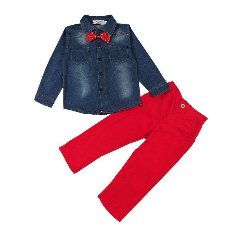 Pants Jeans Outfits Sets 2PCS Kids Baby Boys Clothes Bow Tie Denim Tops Shirt