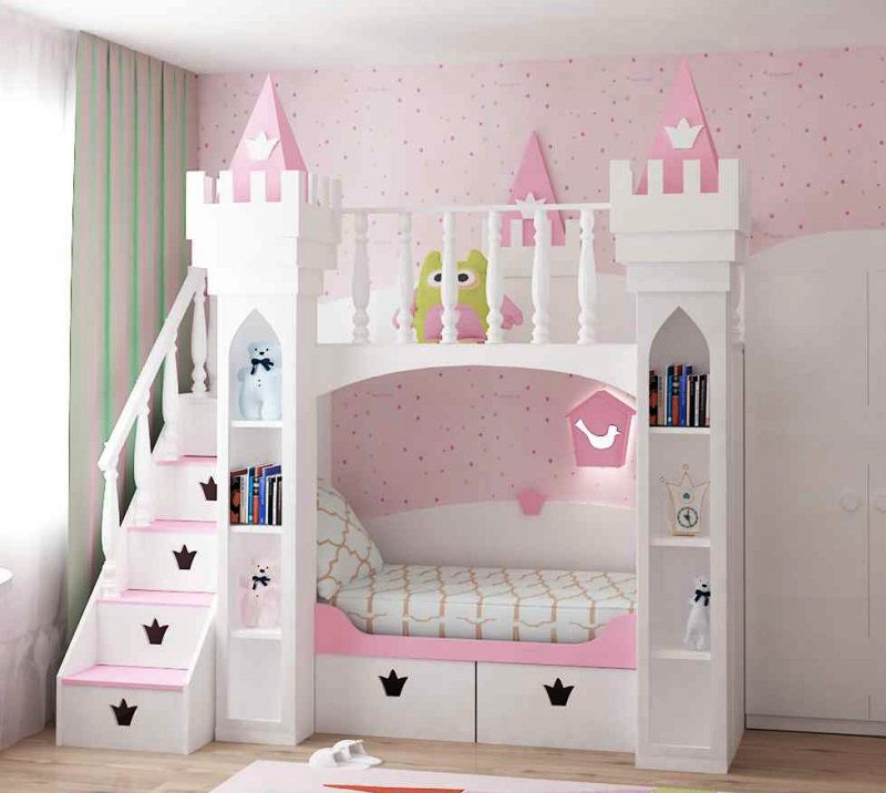 Made To Order Luxury Princess Castle Bunk Bed With Star Drawer