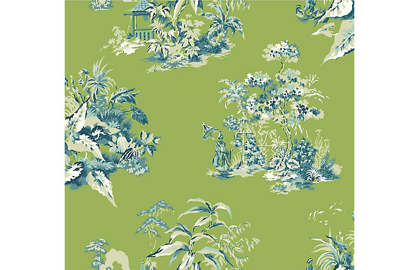 Chinoiserie Scenic Wallpaper Green Blue Scenic Wallpaper Blue