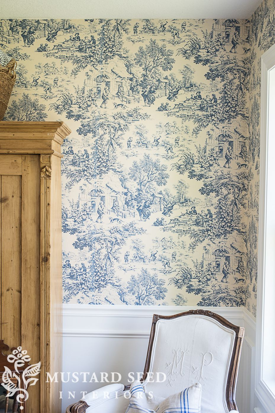 Making Progress In The Sewing Room Miss Mustard Seed Blue And White Wallpaper Dining Room Wallpaper Diy Wainscoting