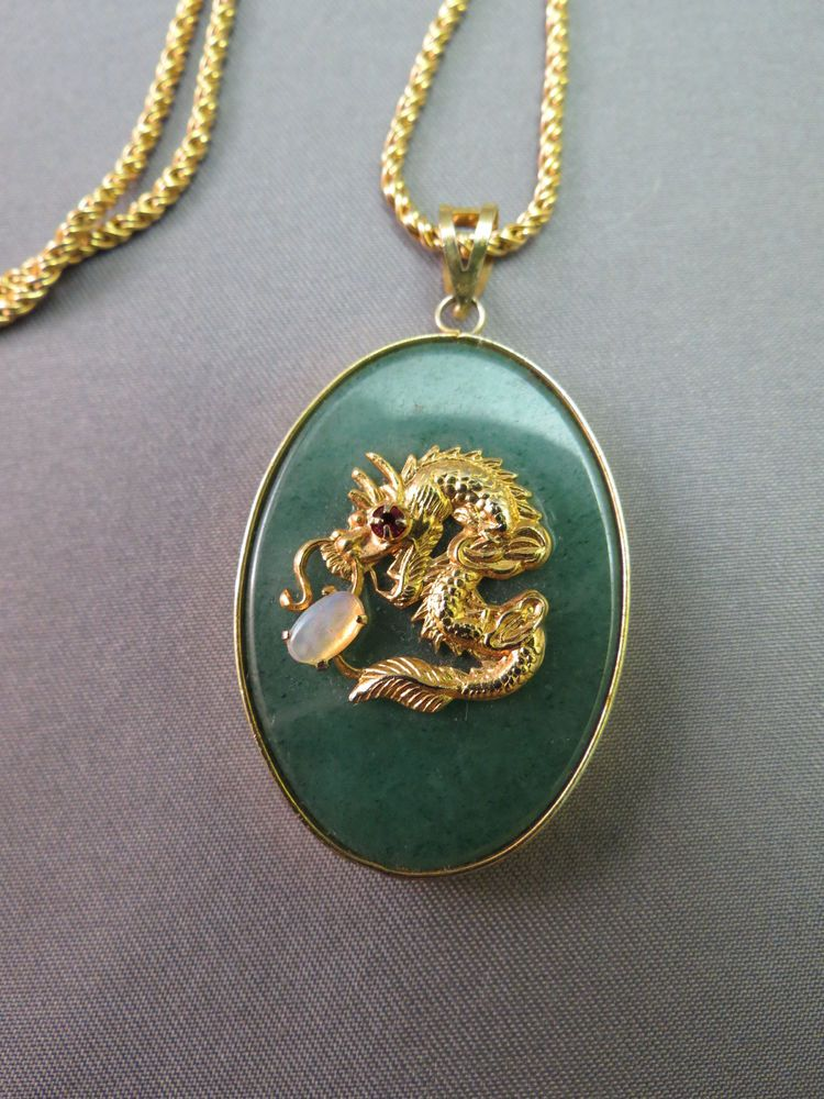 Vtg napier gold plated chain necklace 60s jade pendant dragon vtg napier gold plated chain necklace 60s jade pendant dragon serpent opal ruby napier aloadofball Image collections