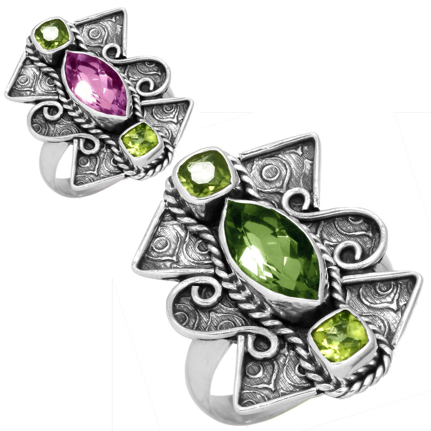 c7f11fddc Solid 925 Sterling Silver Ring Alexandrite Color Change Peridot Gemstone  Latest Jewelry Size 6 **