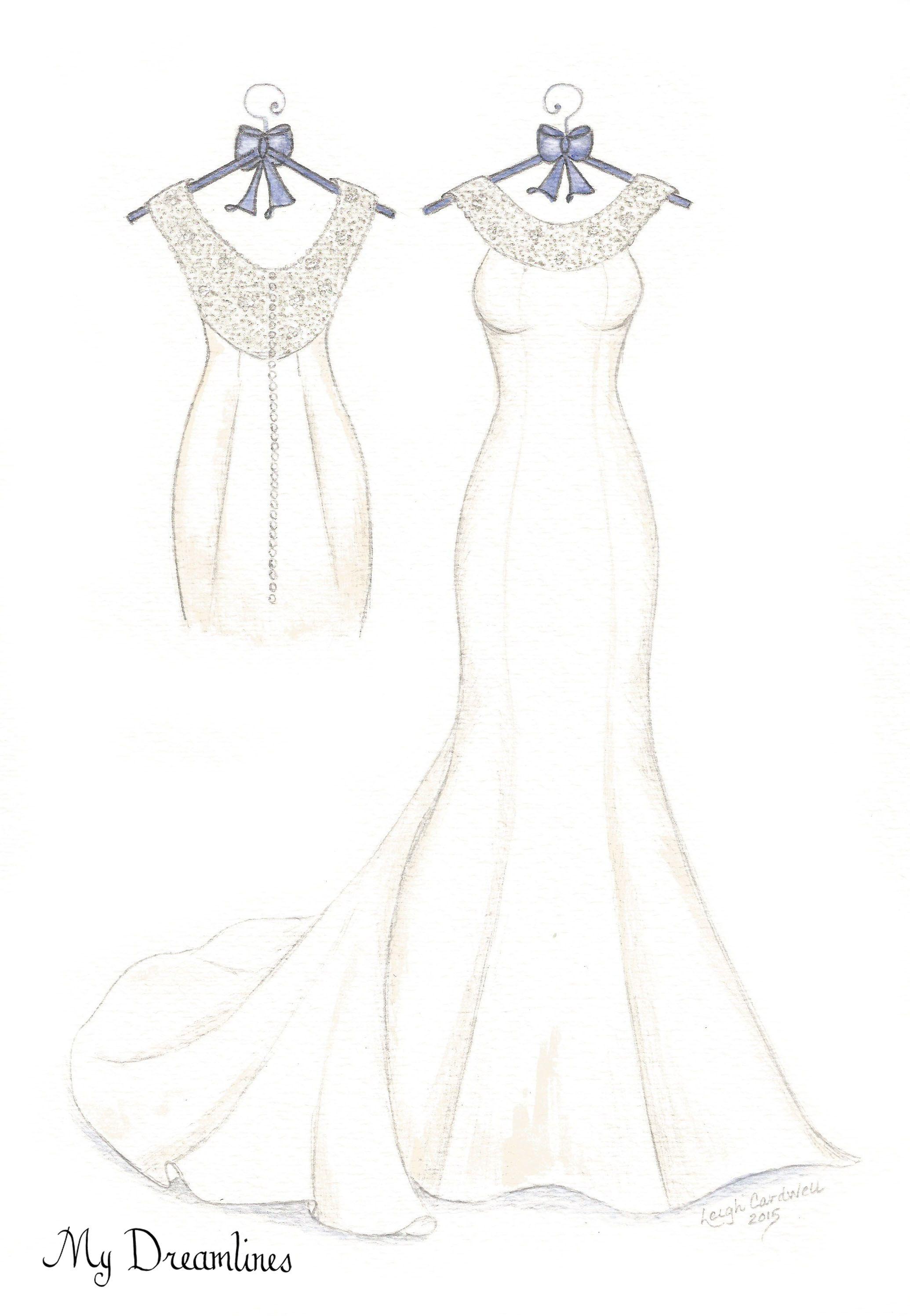 Dreamlines Wedding Dress Sketch give as an anniversary gift, wedding ...