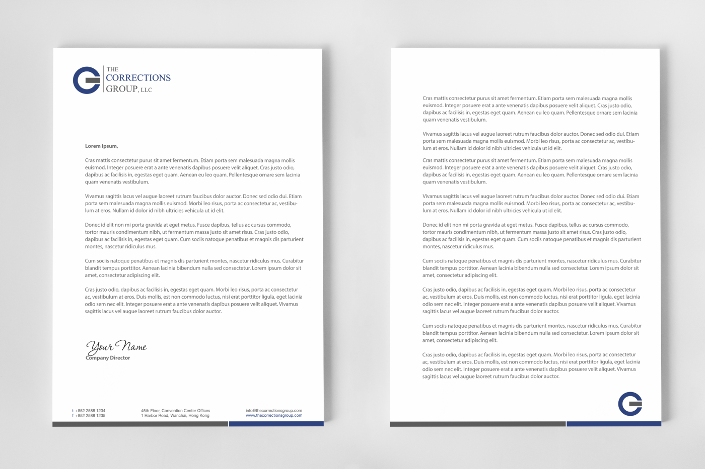 letterhead design second page
