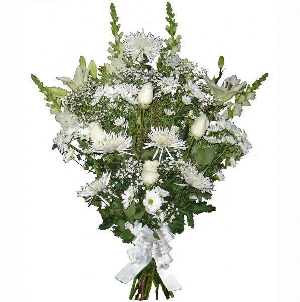 Ramo De Flores Para Difuntos De Color Blanco Flores Blancas Flores Arreglos Florales