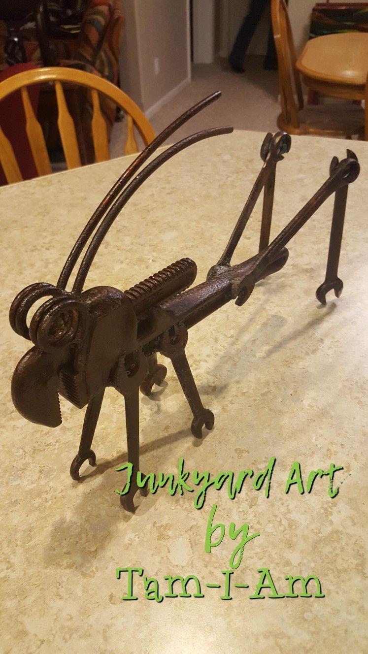 Junkyard Art by Tam-I-Am. Repurposed pipe wrench. Grasshopper. Scrap ...