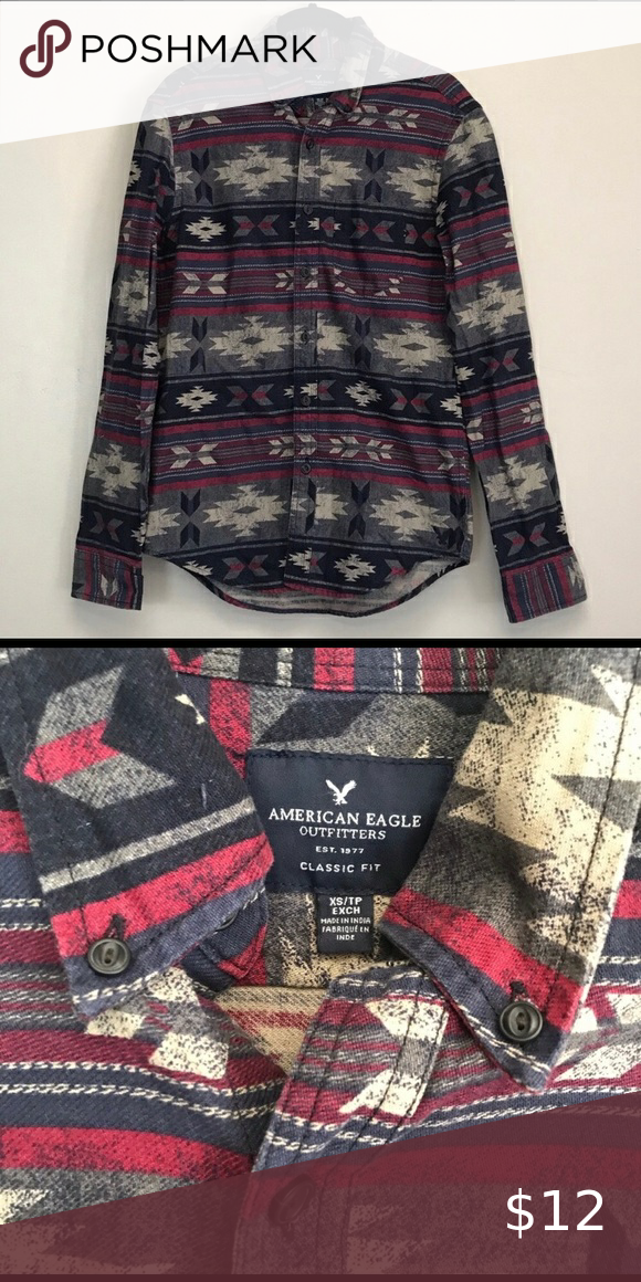 Mens American Eagle Aztec Long Sleeve Button Down