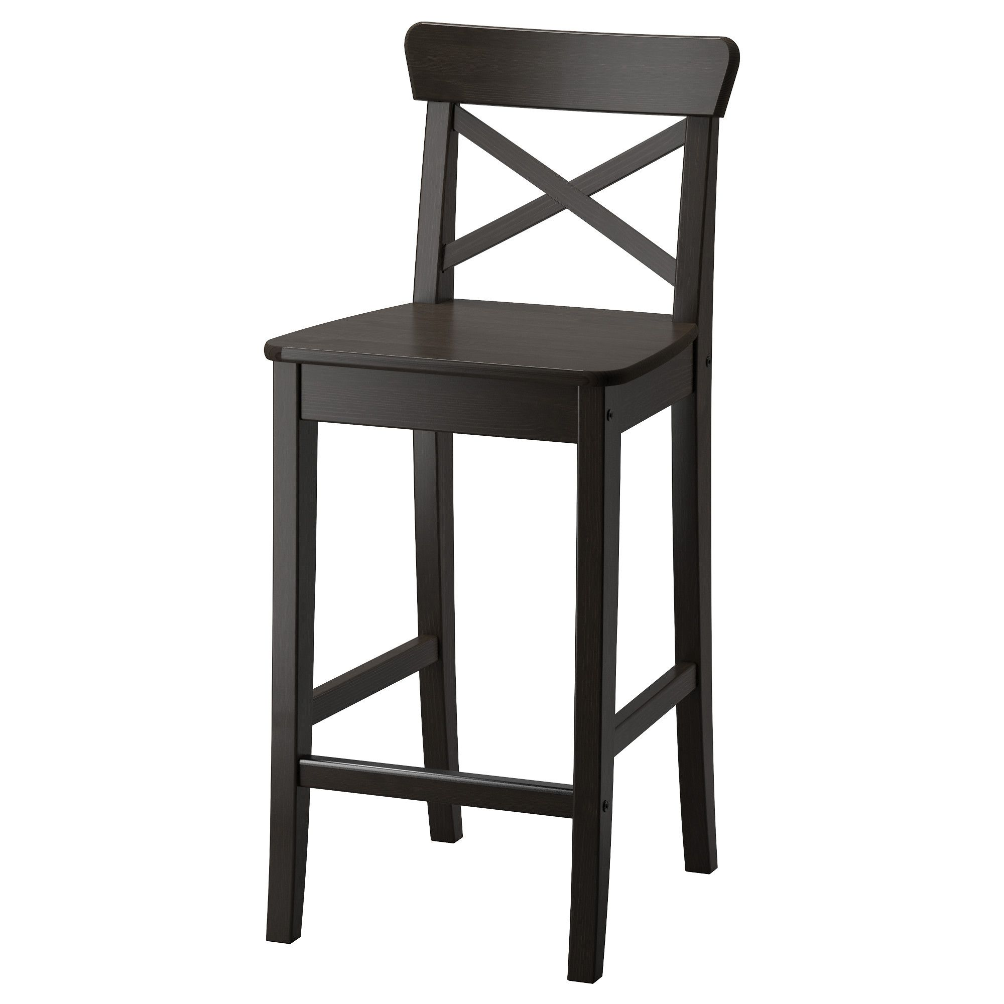 Ikea Ingolf Bar Stool With Backrest Footrest For Extra Sitting Comfort Solid Wood Is A Durable Natural Material
