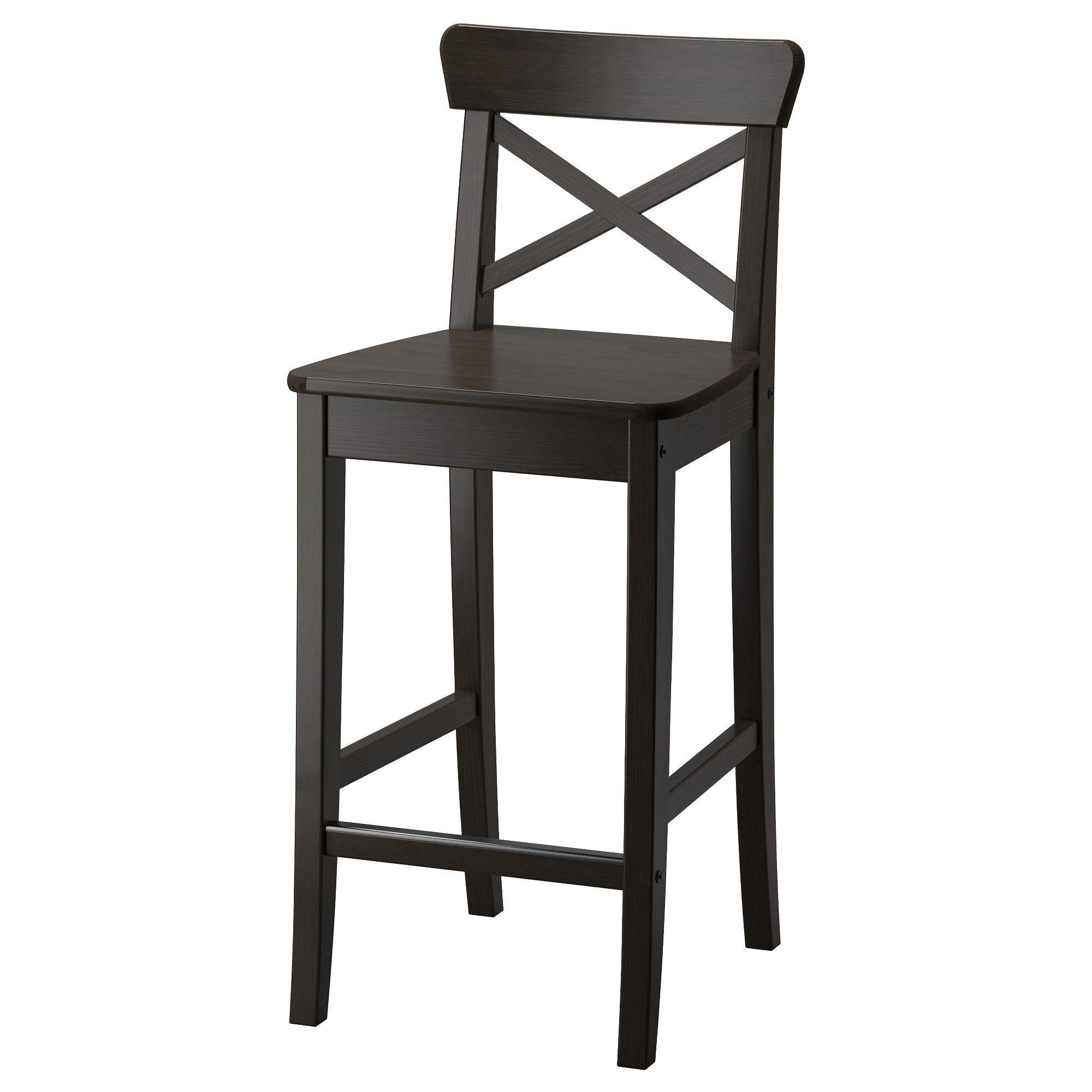 Ingolf Bar Stool With Backrest Brown Black 24 3 4 Barstuhle
