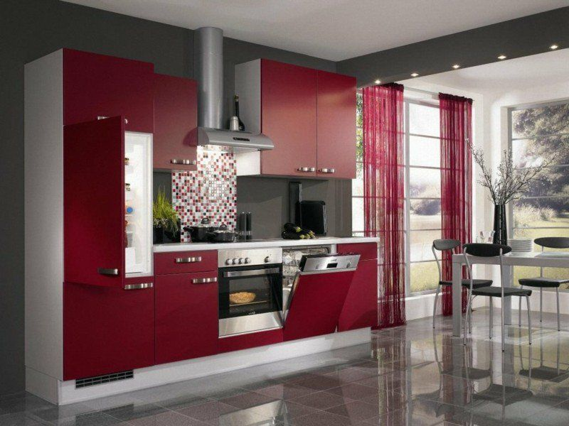 cuisine-rouge-grise -armoires-rouge-cerise-credence-cuisine-grise ...