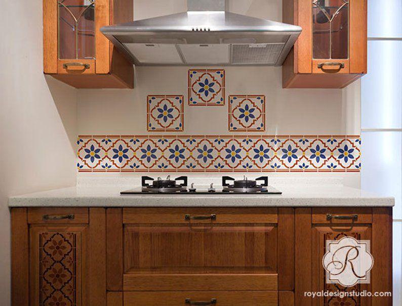 Indian Faux Tile Border Stencils – Wall Border Design – Tile Furniture Pattern