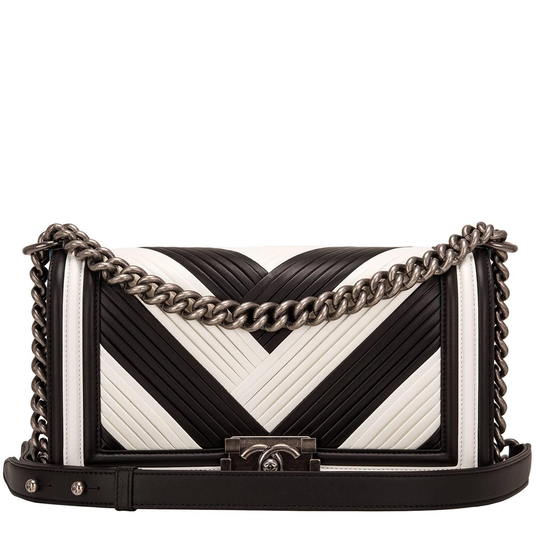 fe841f2e789d Chanel Paris In Rome Black and White Pleated Calfskin Medium Boy Bag ...