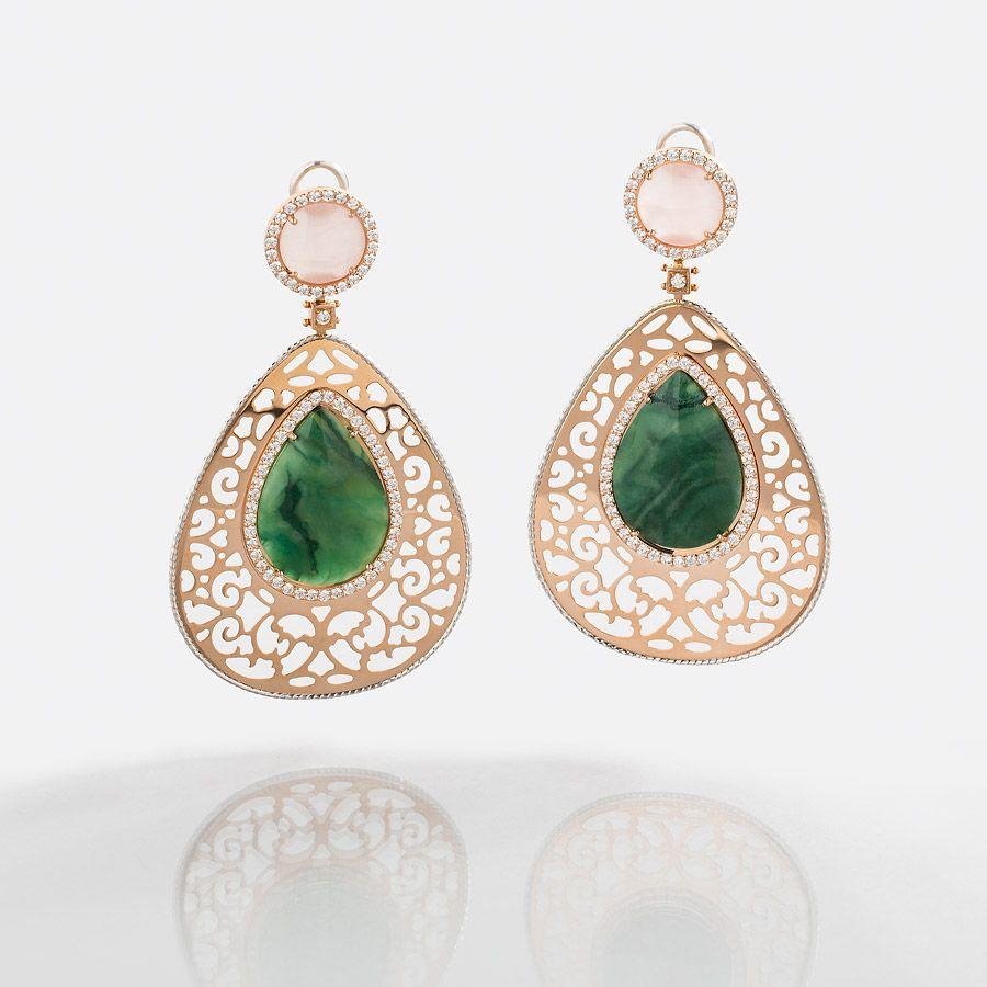 The ELISSA Earrings Malachite & Rose Quartz #gold #diamonds #beauty