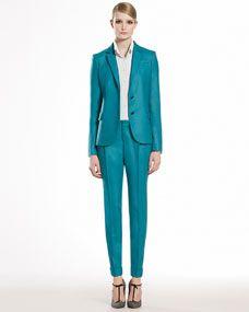 Stretch Flannel Slash Pocket Jacket, Crepe de Chine 1970s Blouse & Stretch Flannel Pleated Pants
