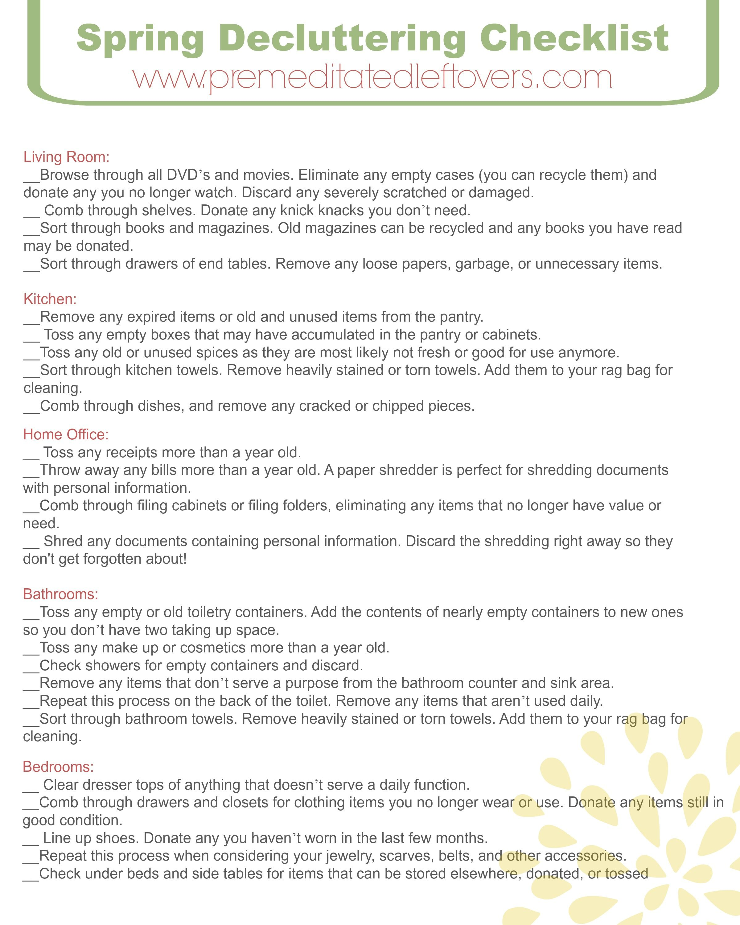Free Printable Home Decluttering Checklist To Help You