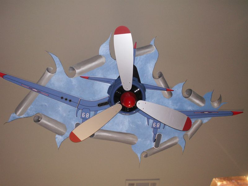 Airplane Ceiling Mural For Ellas Room Do In Different